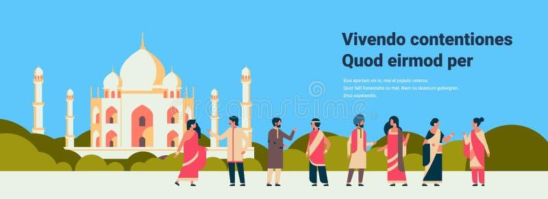 Det indiska folket grupperar bärande för mankvinnan för nationell traditionell kläder hinduisk byggnad för moskén för cityscape f stock illustrationer