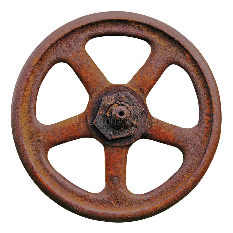 Det industriella ventilhjulet och Rusty Stem, gammal åldrig riden ut rostGrunge låser, stora detaljerade den isolerade makroclose royaltyfri fotografi