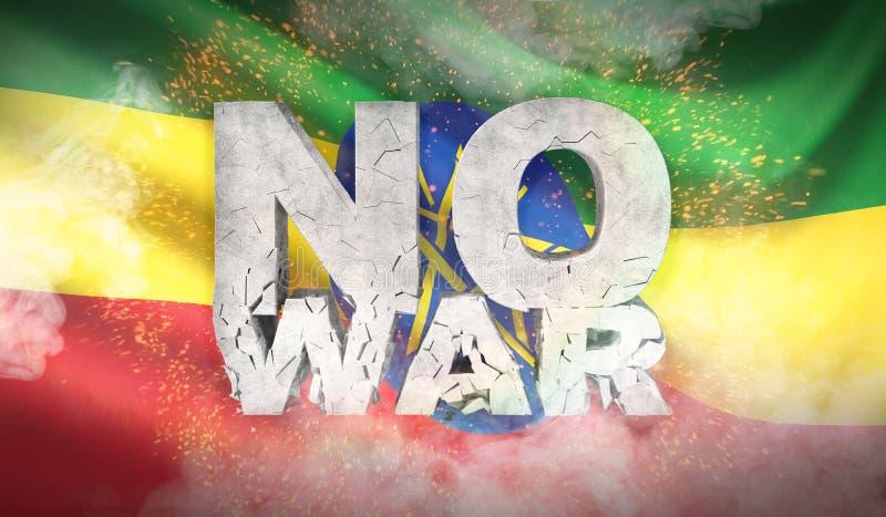 det inget begreppet kriger ethiopia flagga Vinkad högt detaljerad tygtextur illustration 3d royaltyfri illustrationer