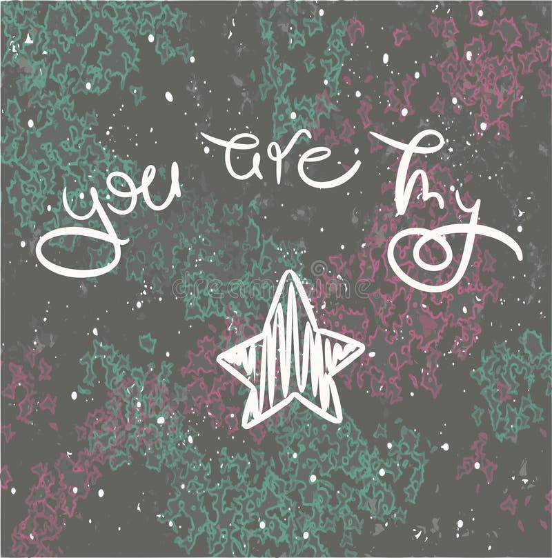 Det inspirerande romantiska citationstecknet är du min stjärna vektor illustrationer