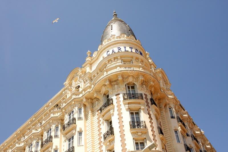Det interkontinentala Carlton Cannes lyxiga hotellet royaltyfria bilder