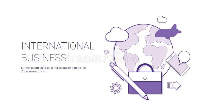 Det internationella banret för begreppet för den globala marknaden för näringslivsutveckling med kopieringsutrymme gör linjen tun stock illustrationer