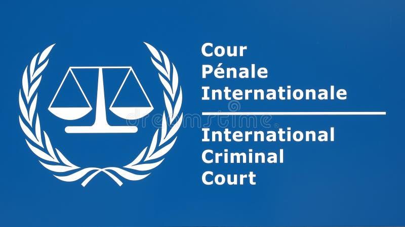 Det internationella brottmålsdomstolingångstecknet royaltyfri bild
