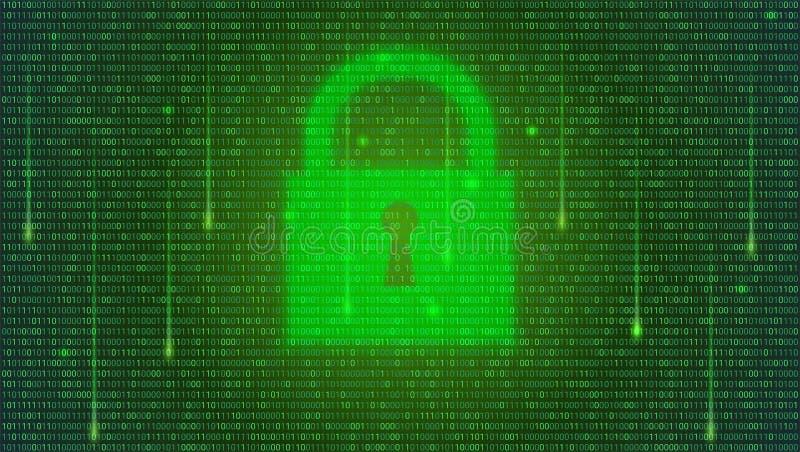det isolerade begreppet 3d framför säkerhet vit Binär kod och att sväva siffror och den stängda hänglåset på digital bakgrund beg stock illustrationer