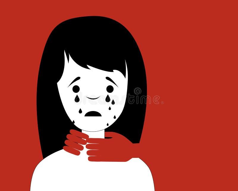 det isolerade huvudet för bakgrundshemhjälphänder skyddar sig till unga vita kvinnor för våld royaltyfri illustrationer