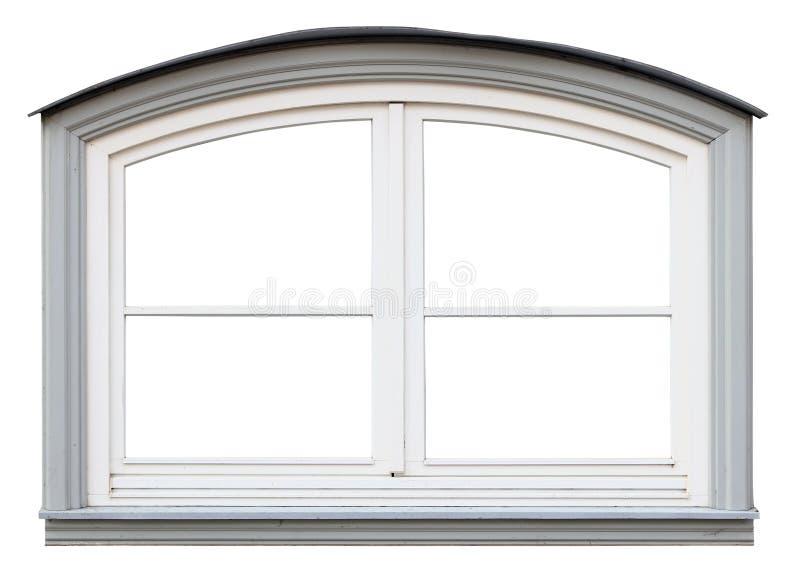 Det isolerade lilla moderna träfönstret för vitbåge royaltyfria foton