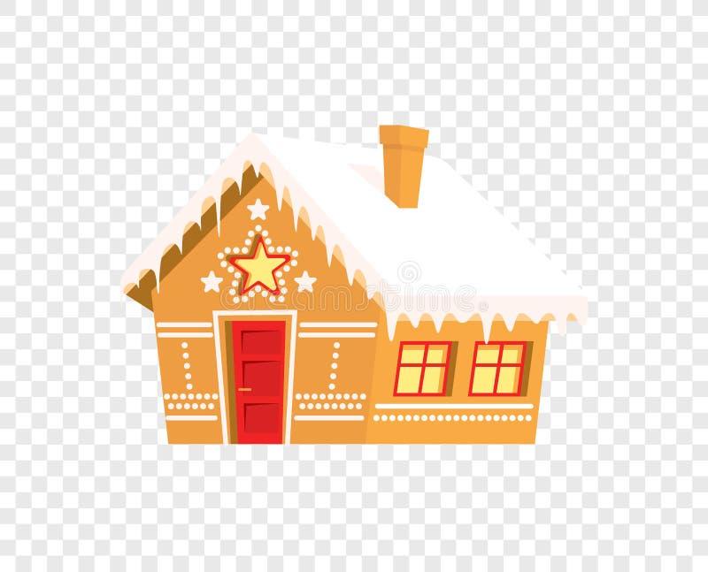 Det isolerade pepparkakahuset - skriv ut för kort för julvinterferier vektor illustrationer