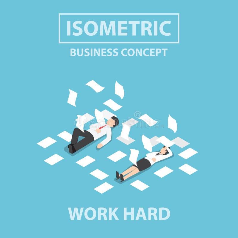 Det isometriska affärsfolket arbetar hårt och medvetslöst på golvet stock illustrationer
