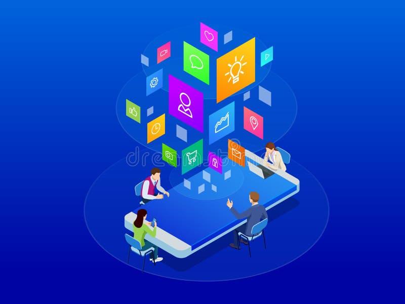 Det isometriska affärslaget diskuterar tillsammans rapporten, försäljningar, målet, marknadsföringen, begrepp Wifi förband folk i stock illustrationer