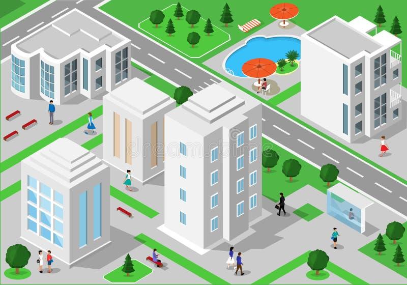 Det isometriska landskapet med folk, stadsbyggnader, vägar, parkerar, hotell och simbassängen Uppsättning av detaljerade stadsbyg royaltyfri illustrationer