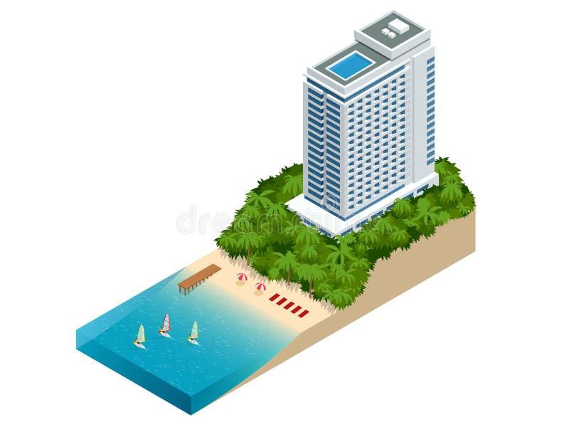 Det isometriska lyxiga strandhotellet och havet beskådar simbassängen nära tomt gräsgolvdäck i modern design Semesterhotell för royaltyfri illustrationer