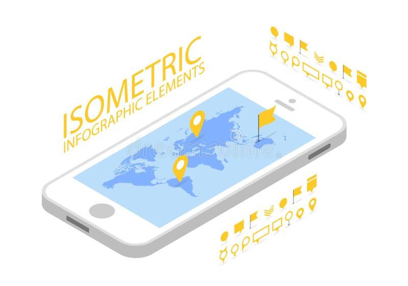 Det isometriska mobila GPS navigeringbegreppet, Smartphone med världskartaapplikation och markören klämmer fast pekaren vektor illustrationer