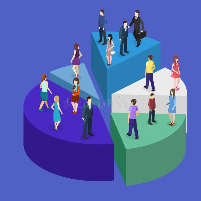 Det isometriska plana affärsfolket står på framgång för pajdiagram royaltyfri illustrationer