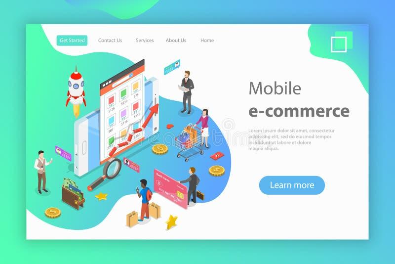 Det isometriska plana vektorbegreppet av den mobila advertizingen, socialt massmedia delta i en kampanj stock illustrationer