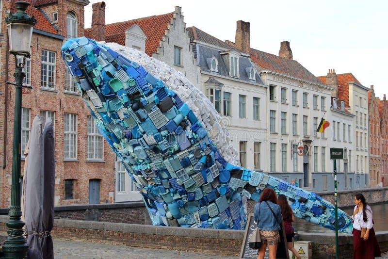 Det jätte- blåa valet hoppar ut ur kanalen i Bruges arkivbilder