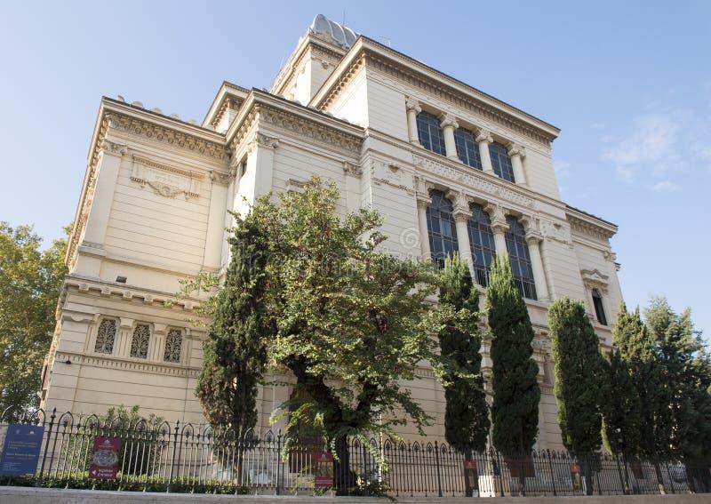 Det judiska museet av Rome i källaren av den stora synagogan av Rome royaltyfria foton