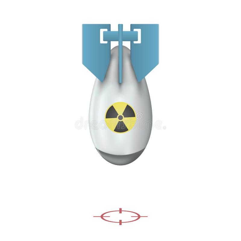 Det kärn- bombarderar Realistisk vektorflygatombomb som isoleras på vit bakgrund också vektor för coreldrawillustration stock illustrationer