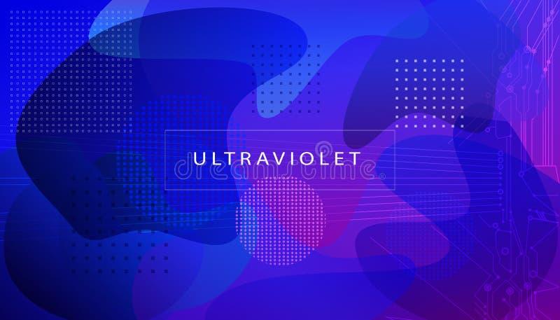Det kalla ultravioletta lutningbanret som landar framtida geometriska modeller för sidan, gör sammandrag tecknet för vektorn för  royaltyfri illustrationer