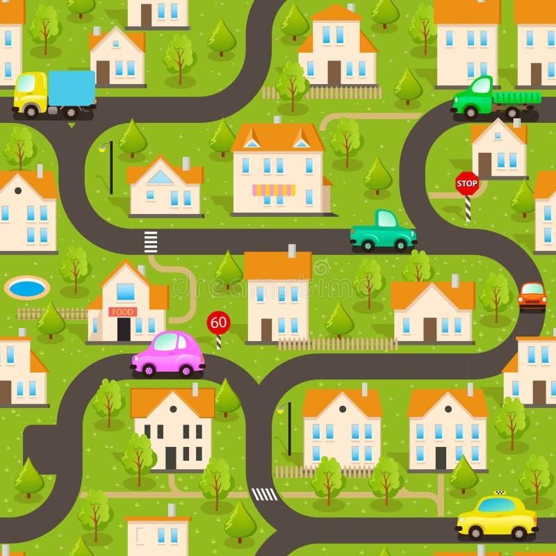 Det kan vara nödvändigt för kapacitet av designarbete Rolig tapet: Liten stad stock illustrationer