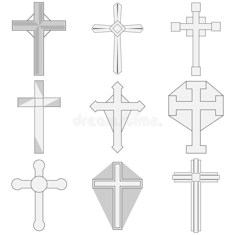 Det katolska korset, symbolet av tro stock illustrationer