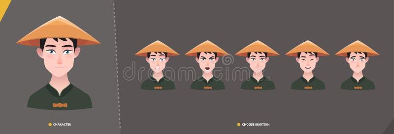 Det kinesiska azian manteckenet - ställ in av sinnesrörelser stock illustrationer
