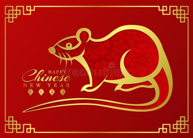 Det kinesiska kortet 2020 för det nya året med den abstrakta guld- gränslinjen tjaller zodiak och abstrakt blommatextur på röd ba vektor illustrationer