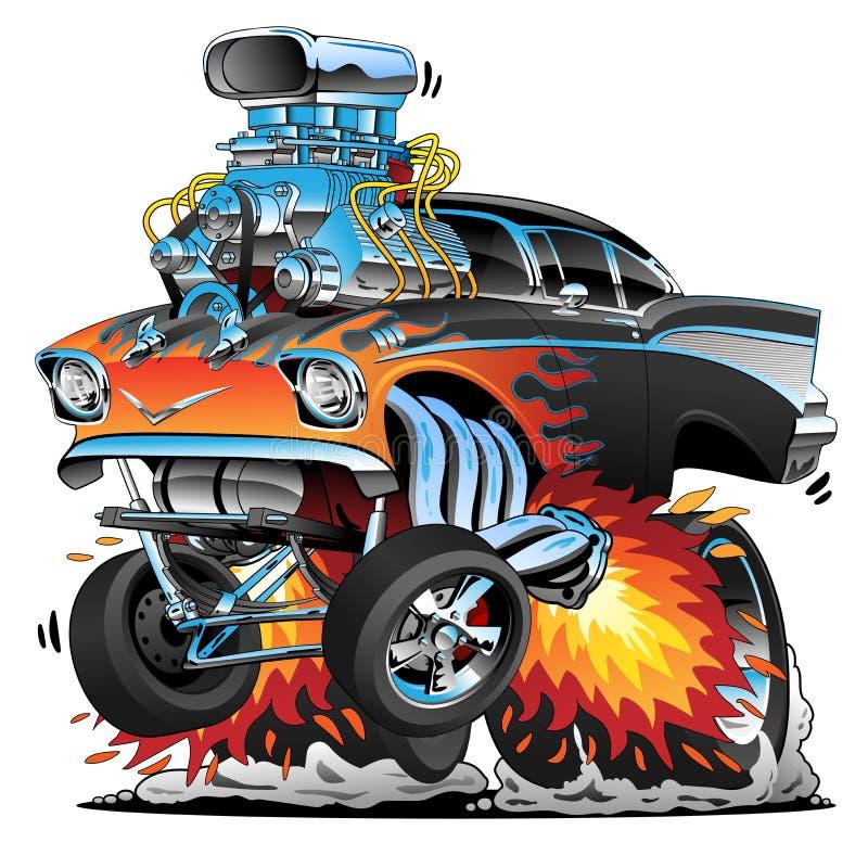 Det klassiska femtiotalet för varm stång utformar gassermuskelbilen, flammor, den stora motorn, tecknad filmvektorillustration royaltyfri illustrationer
