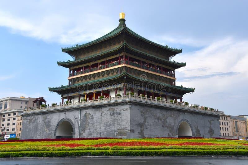 Det Klocka tornet av Xian, Kina arkivbilder