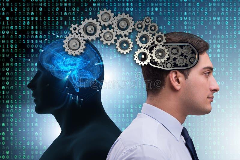 Det kognitiva beräknande begreppet som framtida teknologi med affärsmannen arkivfoton