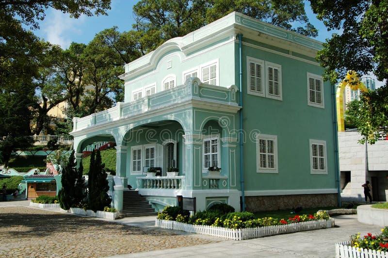 det koloniala huset macau bevarade taipa royaltyfri bild
