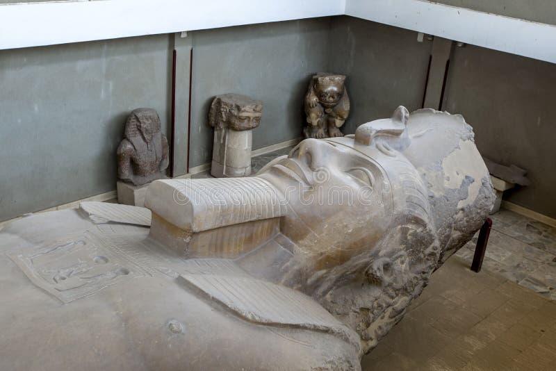 Det kolossala kalkstenhuvudet av faraoRamesses ll i Egypten fotografering för bildbyråer