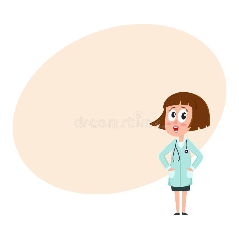 Det komiska kvinnadoktorsteckenet med guppar frisyr, händer i fack vektor illustrationer