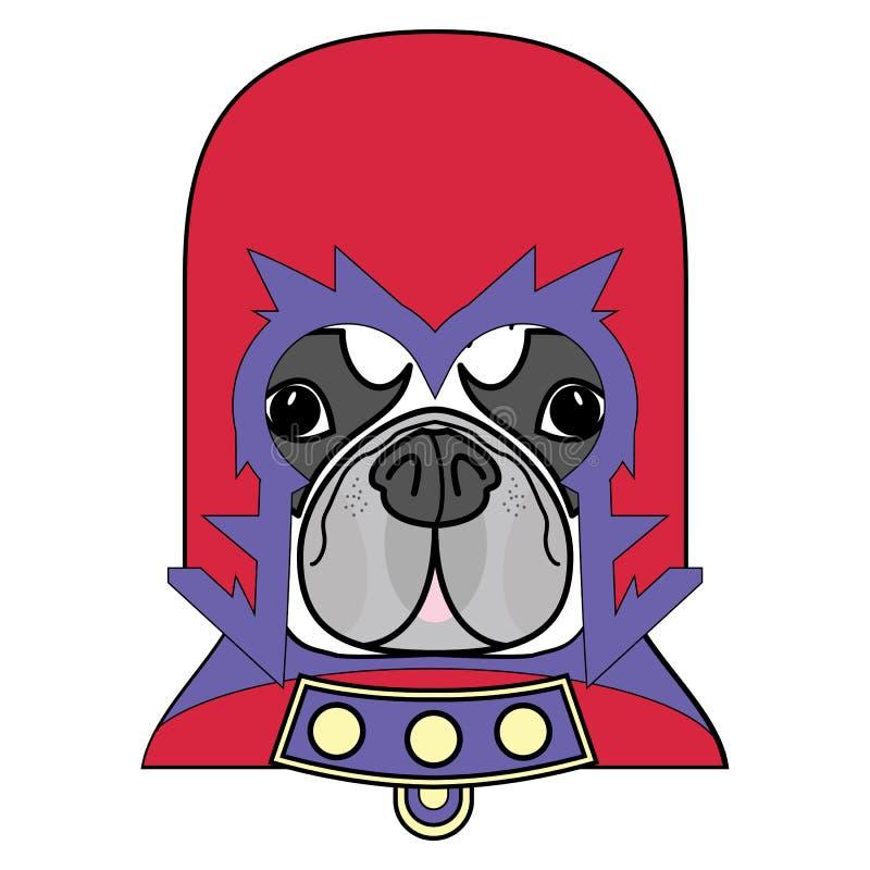 Det komiska rackaresymbolet i dräkt med udde, maskering i rött, gulnar, blått och lilor som ett tecken för fransk bulldogg royaltyfri illustrationer