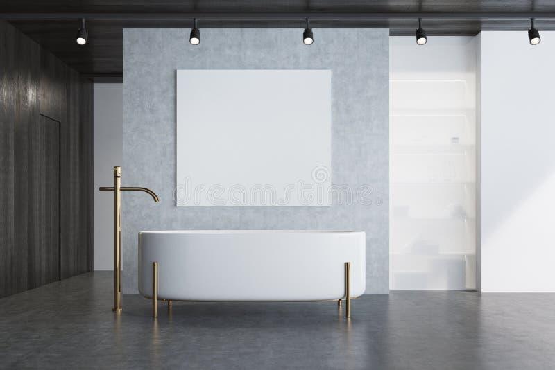 Det konkreta badrummet, badar och affischen royaltyfri illustrationer