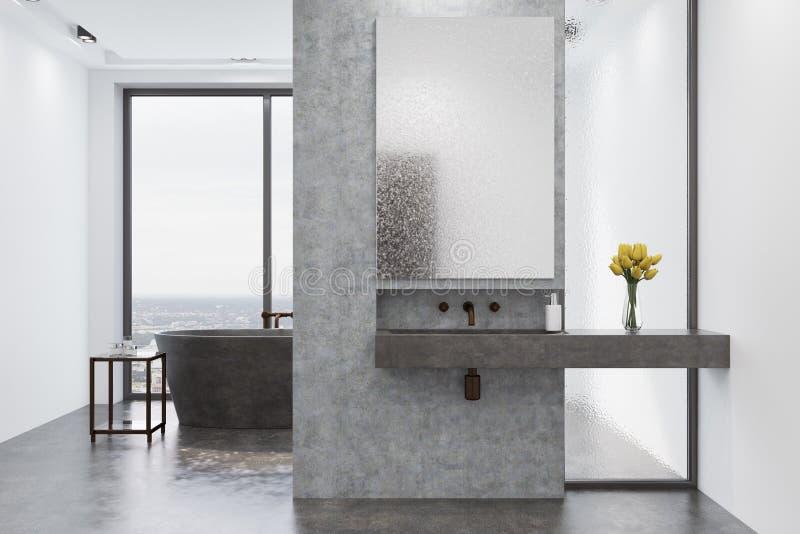 Det konkreta badrummet, grå färg badar och sjunker stock illustrationer