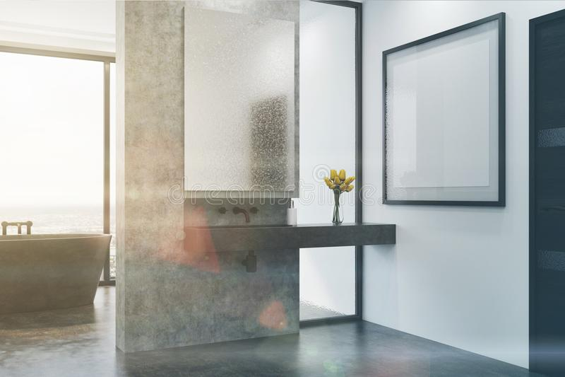 Det konkreta badrummet, grå färg badar och sjunker den tonade sidan royaltyfri illustrationer