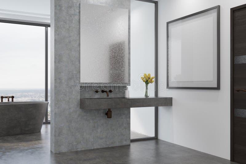 Det konkreta badrummet, grå färg badar och sjunker sidan royaltyfri illustrationer