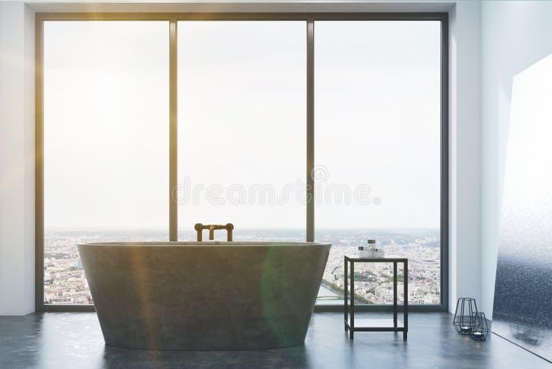 Det konkreta badrummet, grå färg badar och det tonade fönstret vektor illustrationer