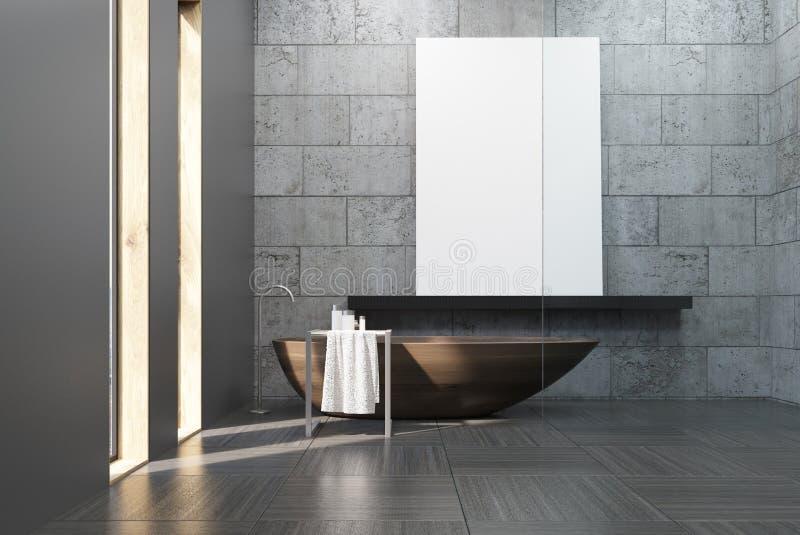 Det konkreta badrummet med trä badar och affischen stock illustrationer