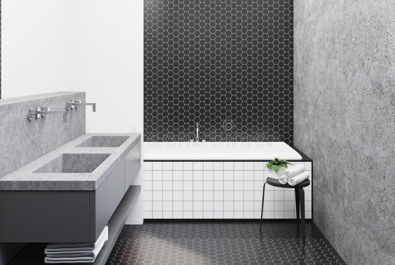 Det konkreta badrummet som beläggas med tegel badar stock illustrationer