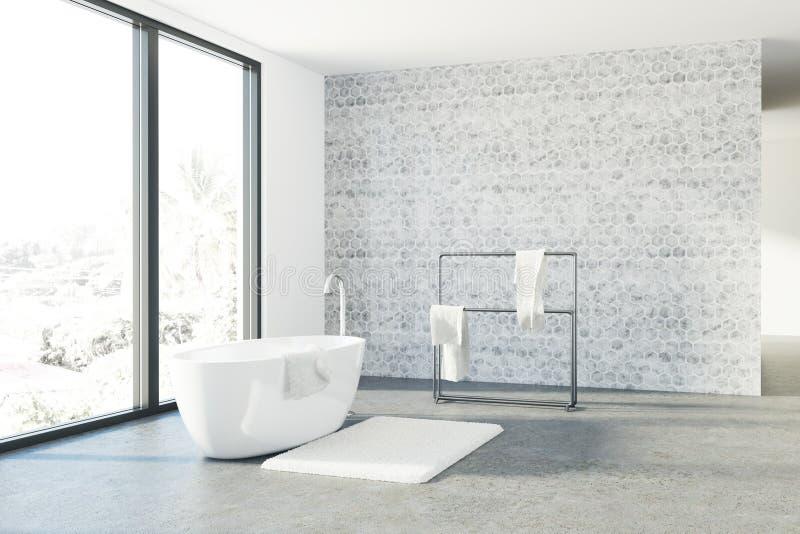 Det konkreta badrummet, vit badar, vinden royaltyfri illustrationer