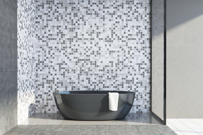 Det konkreta och belade med tegel badrummet, badar royaltyfri illustrationer