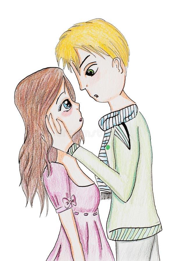 Det konstiga ögonblicket för den första kyssen stock illustrationer