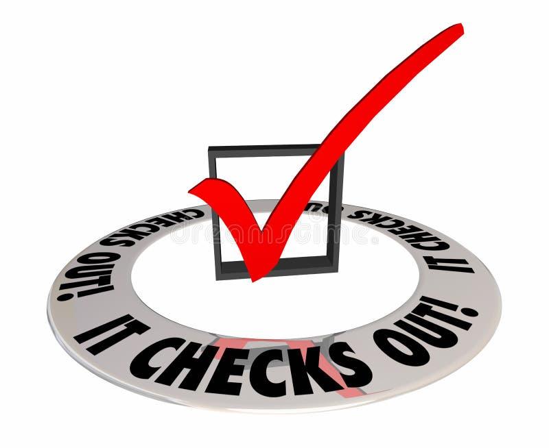 Det kontrollerar verifierar ut bekräftar Mark Box Answer Result stock illustrationer