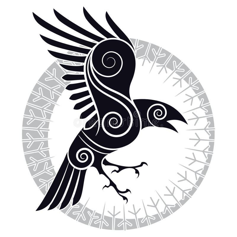 Det korpsvart av Odin i en keltisk run- cirkel för stil och för design vektor illustrationer