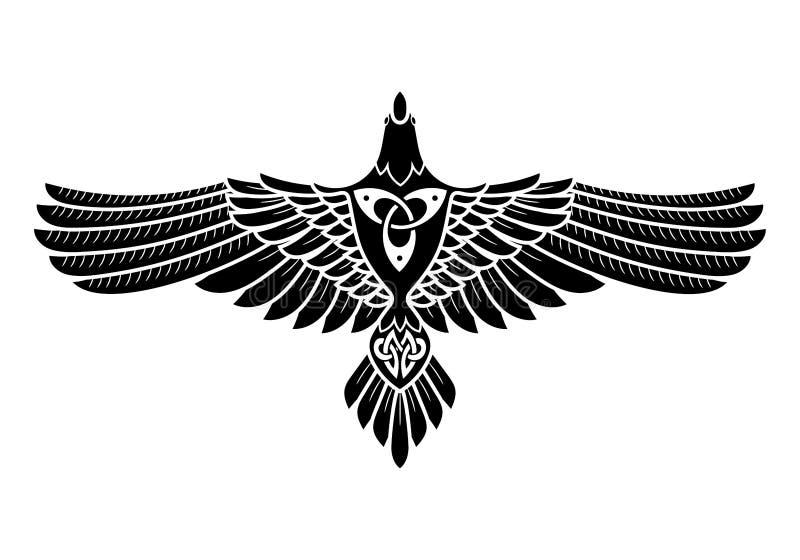 Det korpsvart av Odin, i Norse, keltisk stil vektor illustrationer
