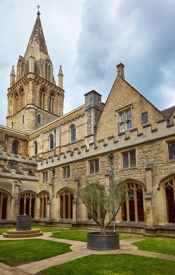 Det korsa tornet av Kristuskyrkadomkyrkan oxford universitetar england royaltyfri fotografi