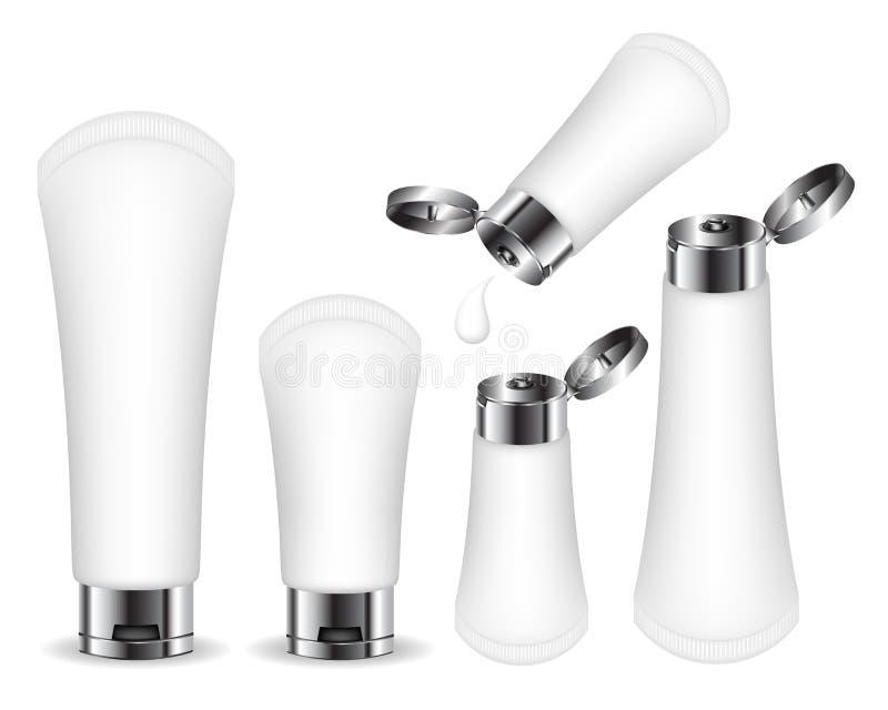 Det kosmetiska plast- r?ret f?r kr?m, stelnar, flytande, skum Sk?nhetsproduktpacke royaltyfri illustrationer