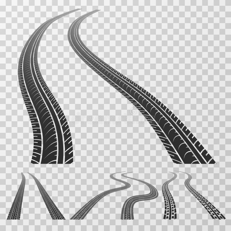 Det krökta gummihjulet spårar sträckning till horisonten, däckmönsterfläckar som isoleras på genomskinligt bakgrundsvektormaterie vektor illustrationer