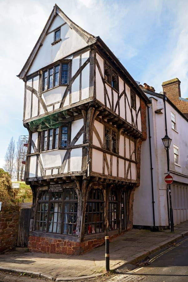 Det krokiga huset i Exeter, Devon, Förenade kungariket, December 28, 2017 arkivbilder